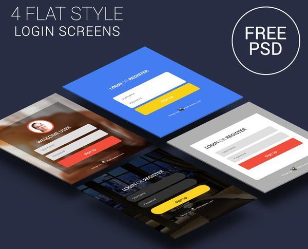 4 Kind flat styles login screens psd material