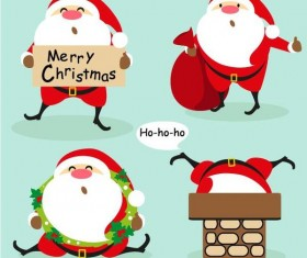 4 Kind funny santa with christmas vector