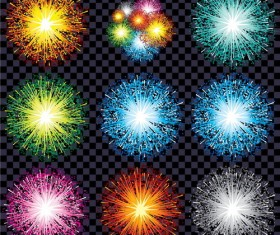 9 kind firework effect vector illustration