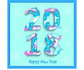 Abstract 2018 new year text design vector