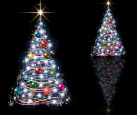 Abstract Christmas tree isolated on black background vector
