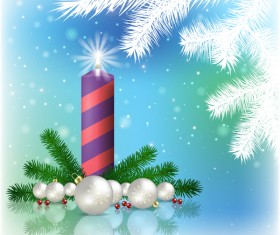 Abstract blue background with christmas decorations vector 01