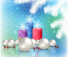 Abstract blue background with christmas decorations vector 02