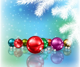 Abstract blue background with christmas decorations vector 04