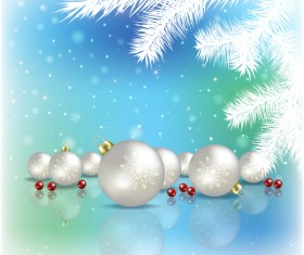 Abstract blue background with christmas decorations vector 06