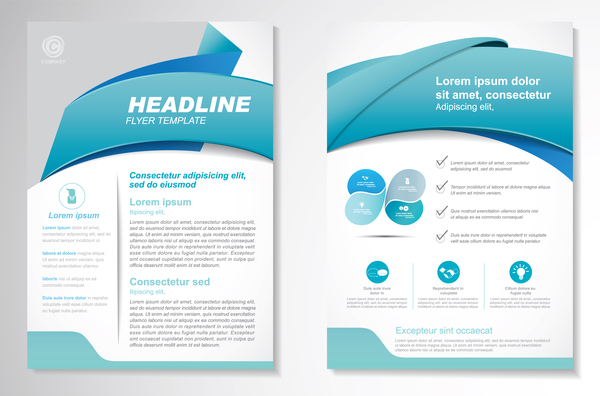 Abstract business flyer with brochure cover template vector 01