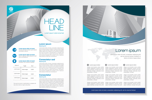 Abstract business flyer with brochure cover template vector 03