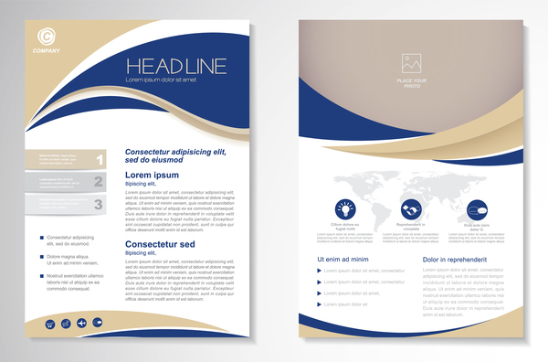 Abstract business flyer with brochure cover template vector 04