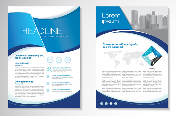 Abstract business flyer with brochure cover template vector 05
