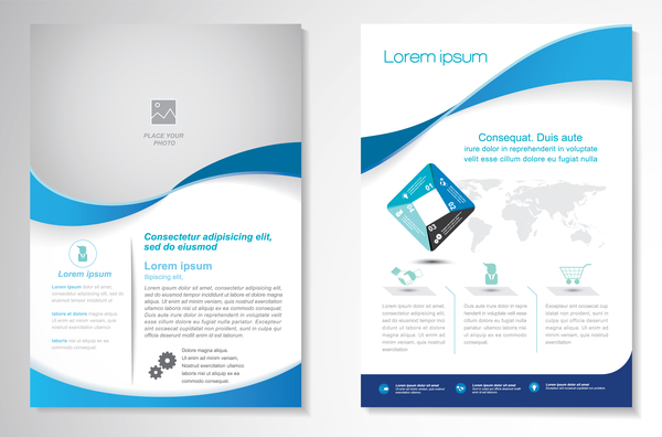 Abstract business flyer with brochure cover template vector 06