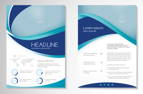 Abstract business flyer with brochure cover template vector 07