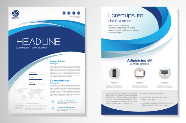 Abstract business flyer with brochure cover template vector 08