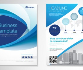 Abstract business flyer with brochure cover template vector 13
