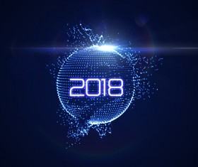 Abstract lights sphere with 2018 new year background vector 01