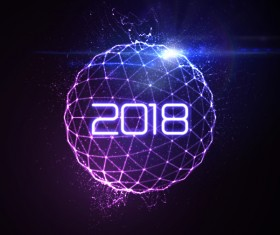 Abstract lights sphere with 2018 new year background vector 02