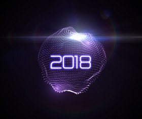 Abstract lights sphere with 2018 new year background vector 03