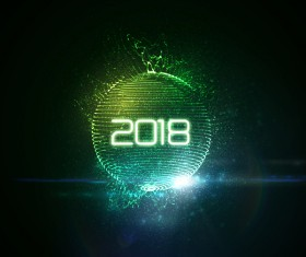 Abstract lights sphere with 2018 new year background vector 04
