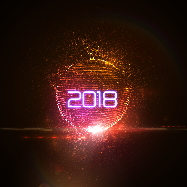 abstract lights sphere with 2018 new year background vector 05