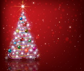 Abstract red background with Christmas tree and decorations vector