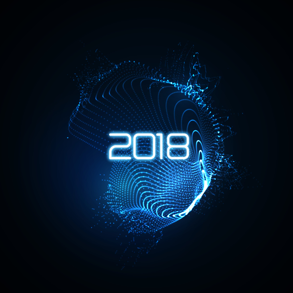 abstract transparent wave with 2018 new year background vector 02
