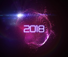 Abstract transparent wave with 2018 new year background vector 03
