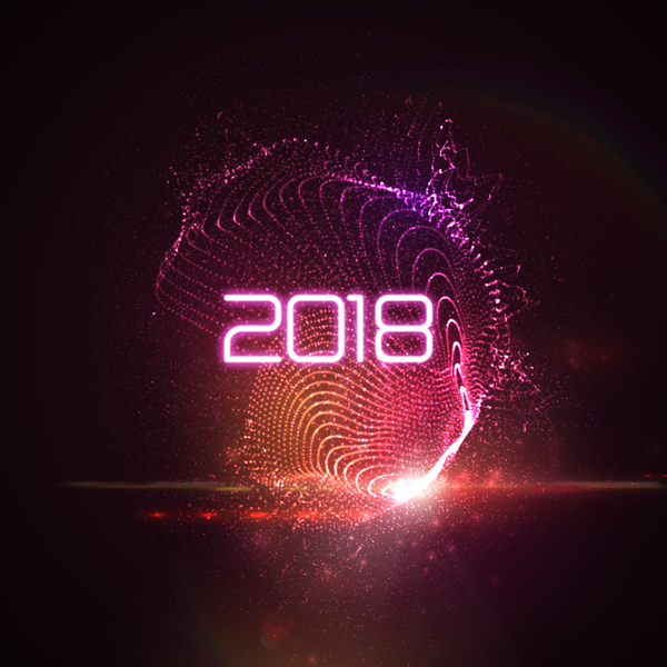 abstract transparent wave with 2018 new year background vector 04