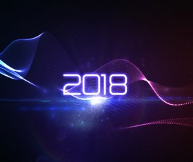 Abstract transparent wave with 2018 new year background vector 05