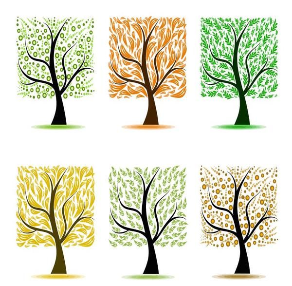 Abstract tree illustration vector set 01