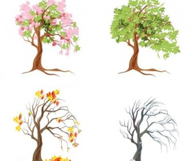 Abstract tree illustration vector set 03