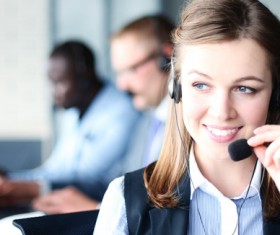Affable customer service lady Stock Photo