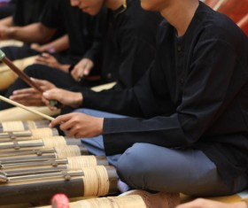 Asian traditional percussion performance Stock Photo