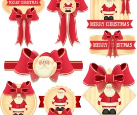 Beautiful bow with christmas labels vector
