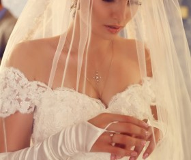 Beautiful bride in wedding dress Stock Photo