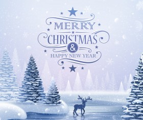 Beautiful christmas with new year winter cover vector