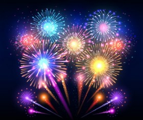 Beautiful colorful firework effect vector