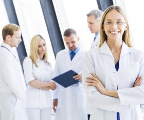Beautiful comely female doctor Stock Photo