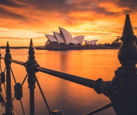Beautiful famous architecture on sea at dusk Stock Photo