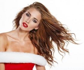 Beautiful girl in Christmas dress Stock Photo