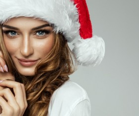 Beautiful girl wearing santa hat Stock Photo