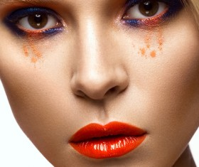 Beautiful girl with bright colored makeup Stock Photo 03