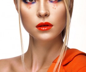 Beautiful girl with bright colored makeup Stock Photo 04
