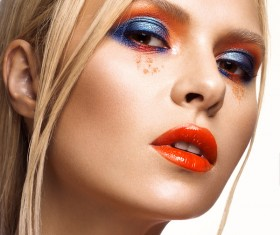 Beautiful girl with bright colored makeup Stock Photo 08
