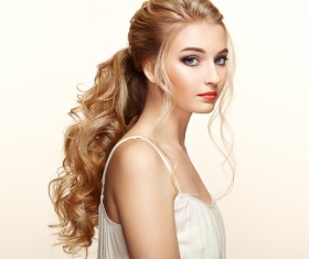 Beautiful girls with fashionable hairstyles and stylish make-up Stock Photo 01