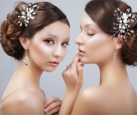 Beautiful twin sisters model Stock Photo