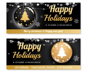 Black christmas holiday banners template vector 01