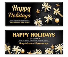 Black christmas holiday banners template vector 02