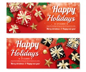 Black christmas holiday banners template vector 03
