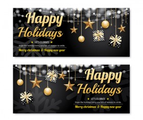 Black christmas holiday banners template vector 04