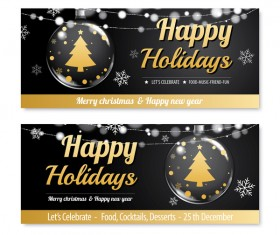 Black christmas holiday banners template vector 05