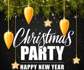 Black christmas party background with fir tree vector